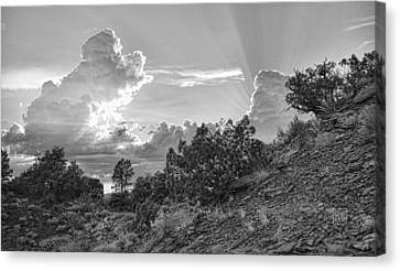 Old West Sunset Bw Canvas Print