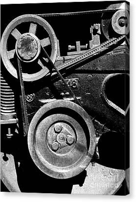 Old Western Pacific Caboose Train Wheel . 7d10626 . Black And White Canvas Print