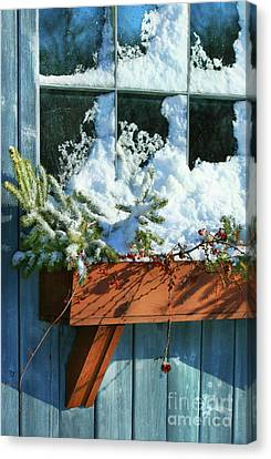 Old Window In Winter Canvas Print by Sandra Cunningham