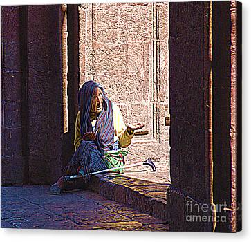 Canvas Print featuring the digital art Old Woman In Centro by John  Kolenberg