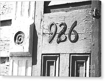 Old Worn Wooden Door And Numbers French Quarter New Orleans Black And White Film Grain Digital Art Canvas Print