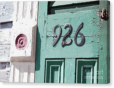 Old Worn Wooden Door And Numbers French Quarter New Orleans Cutout Digital Art Canvas Print