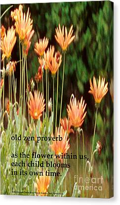 Old Zen Proverb Canvas Print by Richard Donin