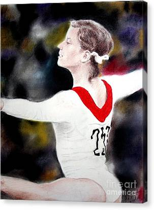 Olga Korbut Performing At The 1972 Summer Olympics In Munich Canvas Print by Jim Fitzpatrick