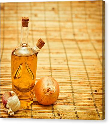 Flask Canvas Print - Olive Oil by Tom Gowanlock