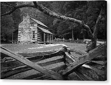 Oliver's Cabin In The Great Smokey Mountains Canvas Print by Randall Nyhof