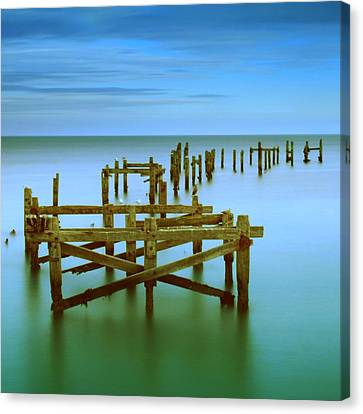 Ols Swanage Pier Canvas Print by Mark Leader
