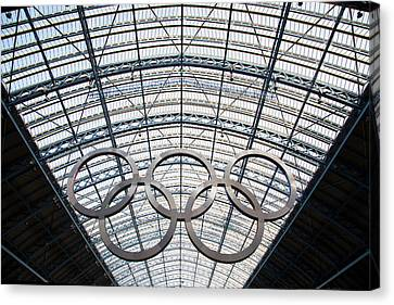 Olympic Rings At St. Pancras Canvas Print
