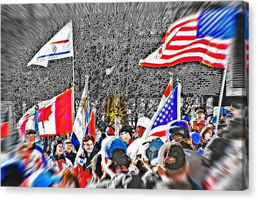 Olympic Torch Rally Snapshot - Slc 2002 Canvas Print by Steve Ohlsen