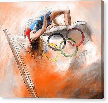 Olympics High Jump Gold Medal Ivan Ukhov Canvas Print by Miki De Goodaboom