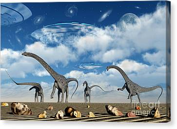 Omeisaurus Dinosaurs Are Startled Canvas Print by Mark Stevenson