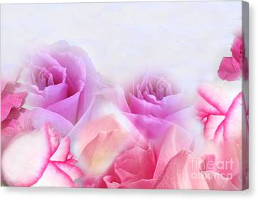 On A Bed Of Roses Canvas Print by Cindy Lee Longhini