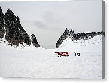 On A Glacier Canvas Print by Gary Rose