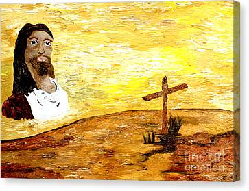 Canvas Print featuring the painting On A Hill Faraway 2 by Ayasha Loya