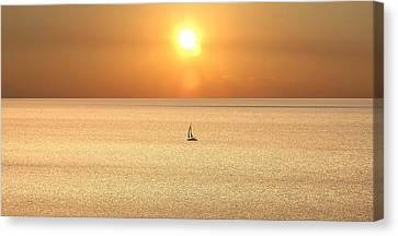 Canvas Print featuring the photograph On Golden Seas by Renee Hardison