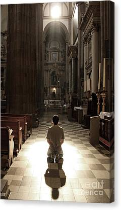 On My Knees In Prayer Canvas Print by Rick Wolfryd