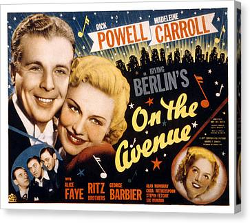 On The Avenue, Dick Powell, Madeleine Canvas Print by Everett