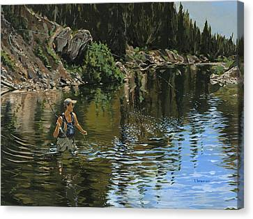 On The Deadwood River Canvas Print