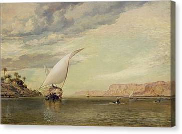 On The Nile Canvas Print by Edward William Cooke