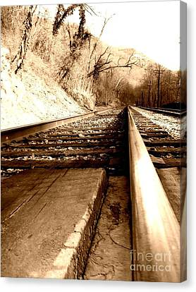 Canvas Print featuring the photograph On The Rail by Amy Sorrell