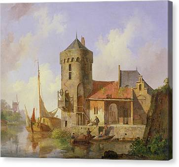 On The Rhine Canvas Print by Cornelius Springer