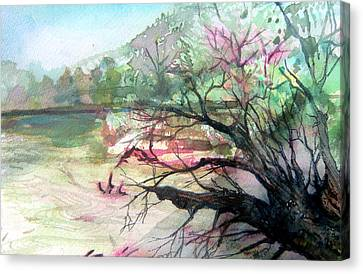 On The River Canvas Print by Mindy Newman