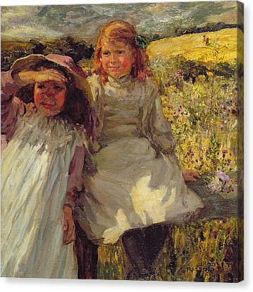On The Stile Canvas Print by Frederick Stead