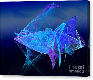 One Fish Blue Fish Canvas Print by Andee Design
