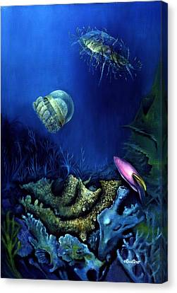One Fish Two Jelly Fish Canvas Print