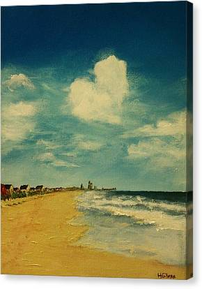 One Heart Over The Beach Canvas Print by Heather  Gillmer