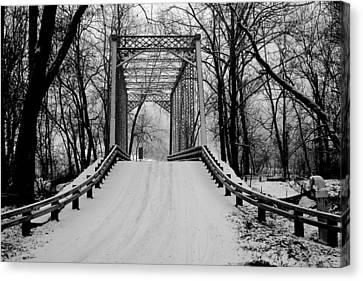 One Lane Bridge In Snow Canvas Print