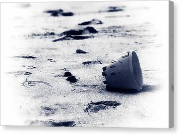 Beach Pails Canvas Print - One Left Behind by John Rizzuto