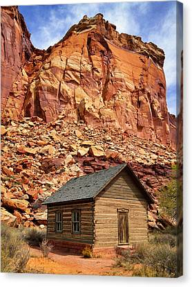 One Room Log School House, Fruita Canvas Print by Royce Bair