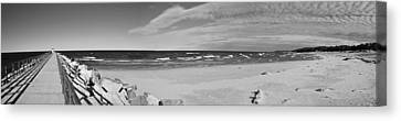 Onekama Pier And Beach In Black And White Canvas Print by Twenty Two North Photography