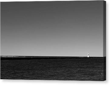 Onekama Pier In Black And White Canvas Print by Twenty Two North Photography
