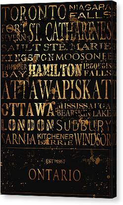 Ontario Typography Canvas Print by Tanya Harrison