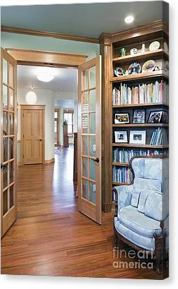 Open French Doors And Home Library Canvas Print