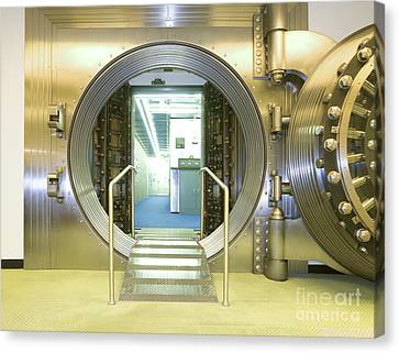 Open Vault At A Bank Canvas Print by Adam Crowley