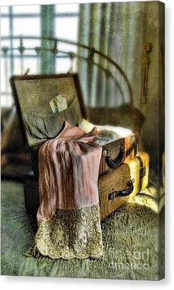 Open Vintage Suitcase With Letter And Lace Canvas Print
