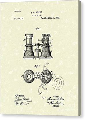 Opera Glass 1882 Patent Art Canvas Print by Prior Art Design