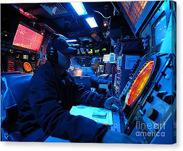 Operations Specialist Stands Watch Canvas Print