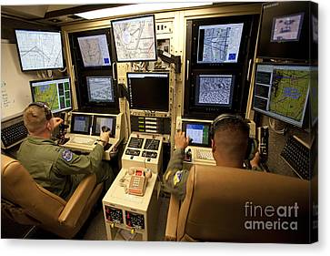 Operators Control Uavs From A Ground Canvas Print