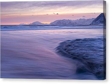 Opposing Waves At Sunset Canvas Print by Tim Grams