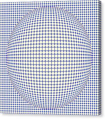 Optical Illusion Blue Yellow Ball Canvas Print