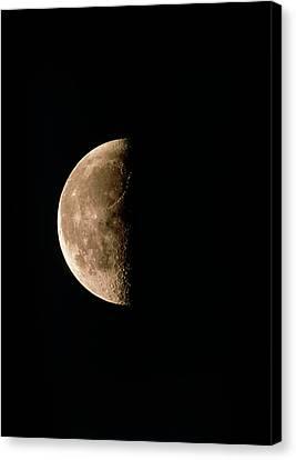 Waning Moon Canvas Print - Optical Image Of A Waning Half Moon by John Sanford