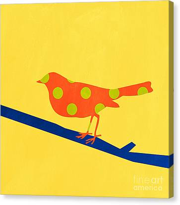 Orange Bird Canvas Print by Linda Woods