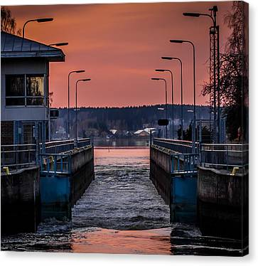 Canvas Print featuring the photograph Orange Canal by Matti Ollikainen