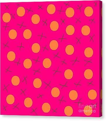 Jordan Canvas Print - Orange Circles On Pink Abstract by Jeannie Atwater Jordan Allen