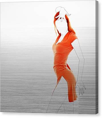 Night Out Canvas Print - Orange Dress by Naxart Studio