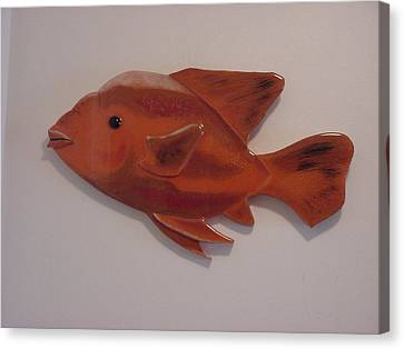 Orange Fish Canvas Print by Val Oconnor